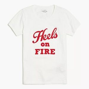 J Crew Heels On Fire Embroidered Graphic Tee XS